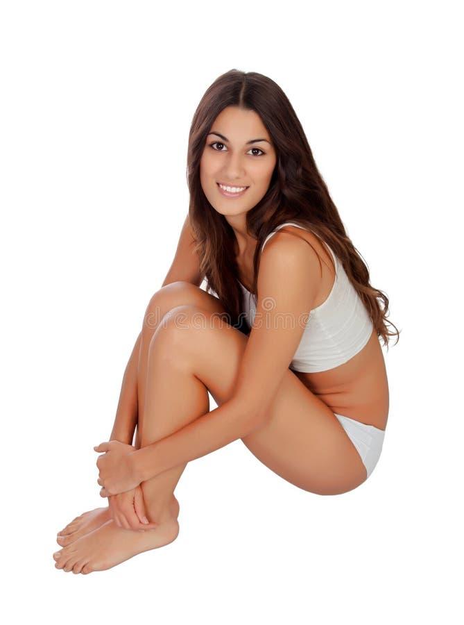 Młoda piękna kobieta w bawełnianej bieliźnie obraz royalty free