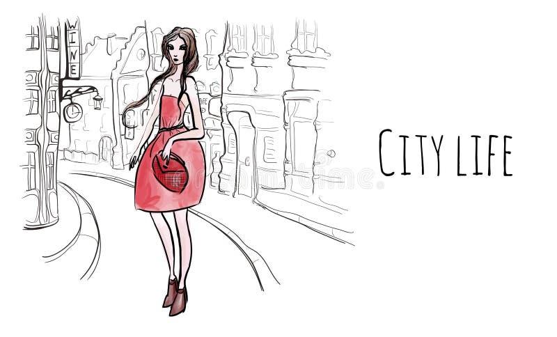 Młoda piękna kobieta w czerwieni sukni na ulicach stary miasteczko Wektorowa pociągany ręcznie ilustracja w nakreślenie stylu royalty ilustracja