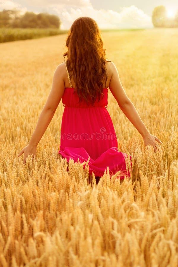 Młoda piękna kobieta w polu banatka zdjęcie royalty free