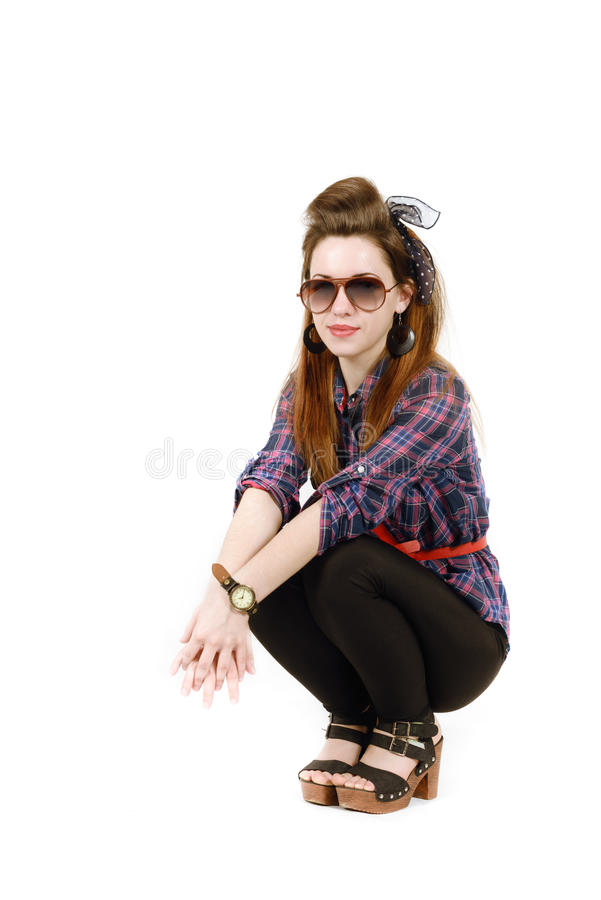 Młoda piękna kobieta w retro stylowej szpilce obrazy stock
