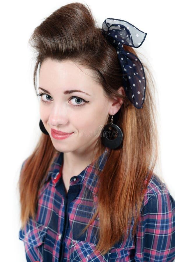 Młoda piękna kobieta w retro stylowej szpilce obrazy royalty free
