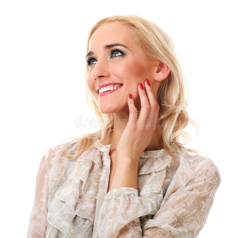 Młoda piękna kobieta z blondynem dotyka jej twarz nad whit fotografia royalty free