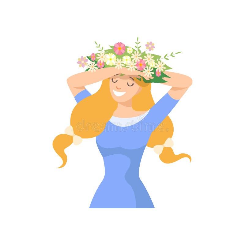 Młoda Piękna kobieta z kwiatu wiankiem w Jej włosy, portrecie Elegancka Uśmiechnięta dziewczyna z Kwiecistym wiankiem i Bławym, ilustracja wektor