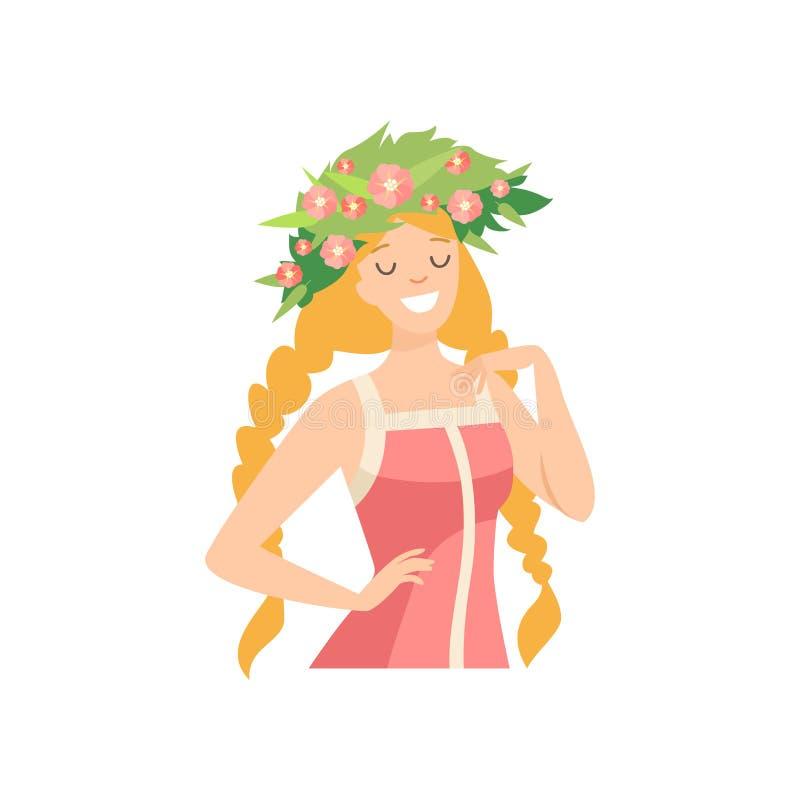 Młoda Piękna kobieta z kwiatu wiankiem w Jej włosy, portrecie Elegancka Uśmiechnięta dziewczyna z Kwiecistym wiankiem i warkoczac ilustracja wektor