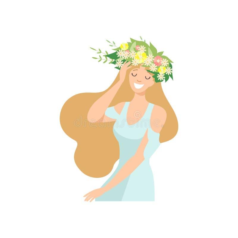 Młoda Piękna kobieta z kwiatu wiankiem w Jej włosy, portret Długa Z włosami Elegancka Uśmiechnięta dziewczyna z Kwiecistym wianki royalty ilustracja