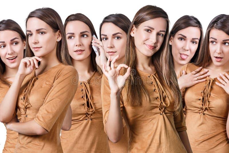 Młoda piękna kobieta z różnymi emocjami fotografia royalty free
