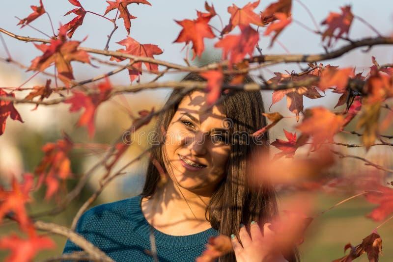 Młoda piękna nastoletnia dziewczyna ono uśmiecha się za jesieni czerwienią opuszcza na drzewie fotografia stock
