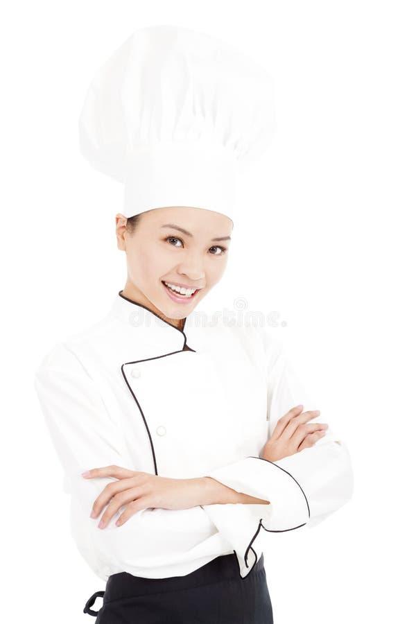 Młoda piękno kobiety szefa kuchni pozycja w studiu obrazy royalty free