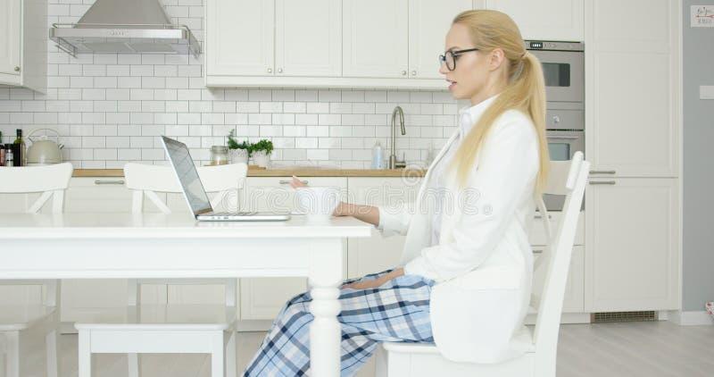 Młoda pomyślna kobieta używa laptop fotografia stock
