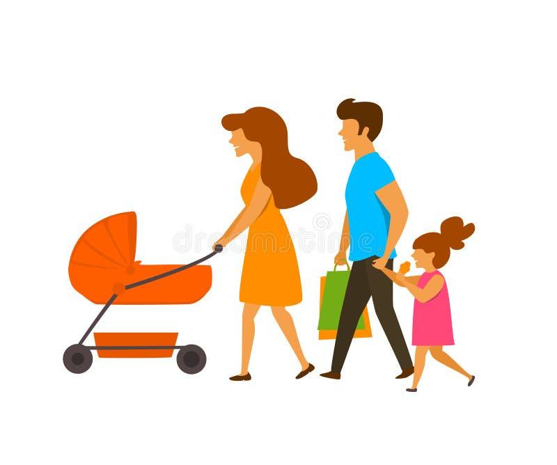 Młoda rodzina, rodzice z dziećmi chodzi, bocznego widoku wektoru ilustracja ilustracji