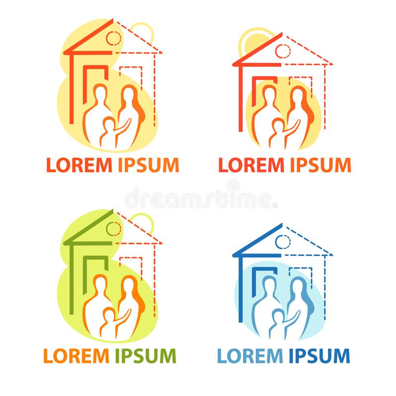 Młoda rodzina w domu, odosobniony wektor Nowy dom, swój dom ikony set, parapetówa logo, mieszkanie royalty ilustracja