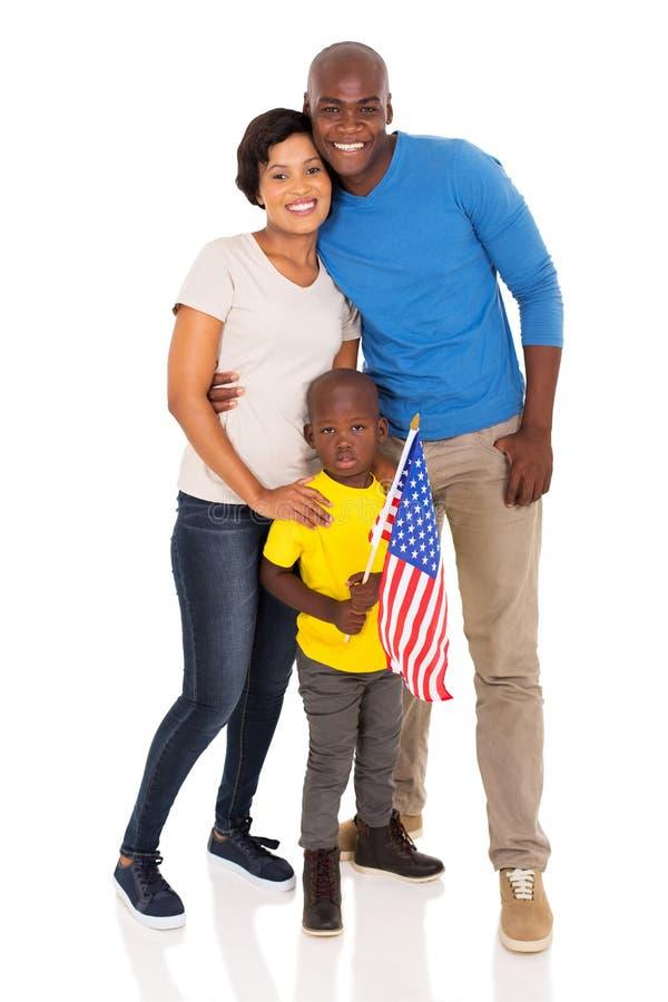 Młoda rodzinna flaga amerykańska zdjęcie royalty free