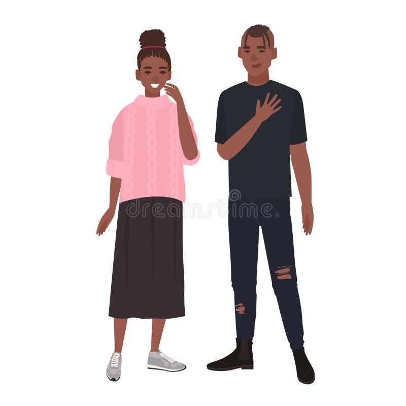 Młoda romantyczna amerykanin afrykańskiego pochodzenia para Uśmiechnięty chłopak i dziewczyna stoi wpólnie Mężczyzna i kobieta w  ilustracji