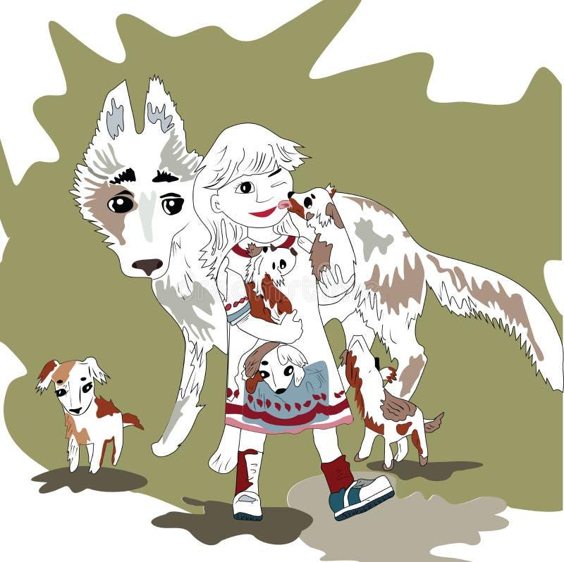 Młoda, rozochocona dziewczyna, i rodzinny pies ilustracja wektor