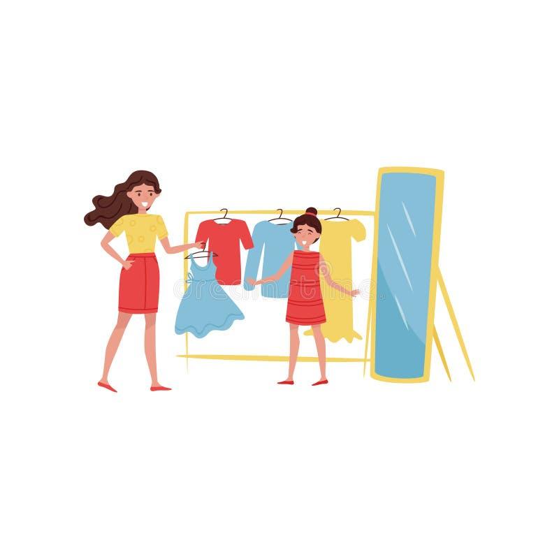 Młoda rozochocona matka i jej córka zakupy Kobieta i dziecko wybiera suknię w odzieżowym sklepie Płaski wektorowy projekt royalty ilustracja