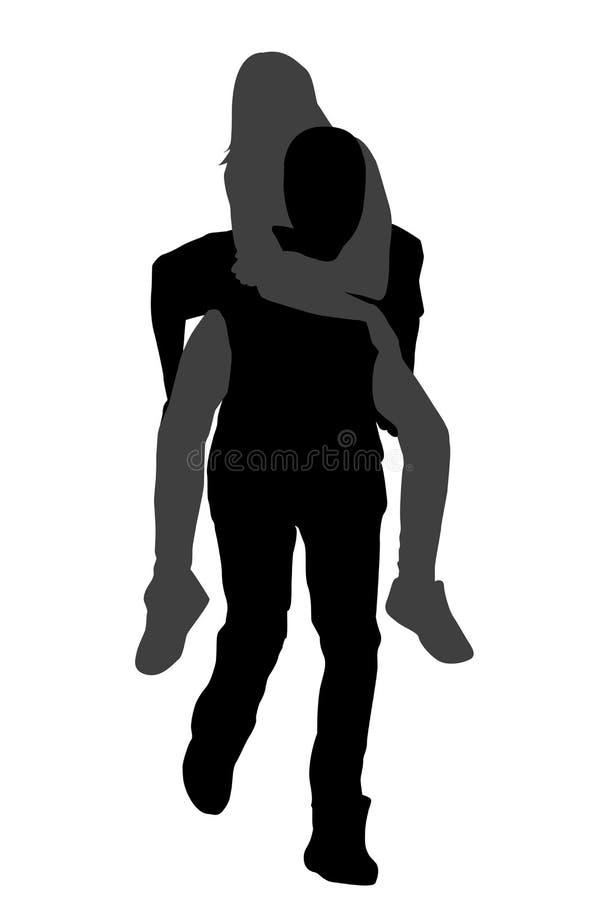 Młoda samiec niesie jego dziewczyny piggyback ilustracji