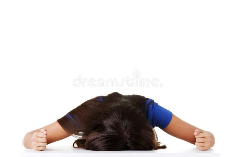 Młoda smutna kobieta, dużą depresję lub problem zdjęcia stock