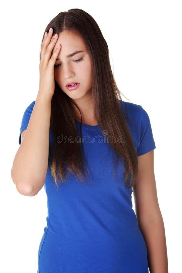 Młoda smutna kobieta, duży depresję problem lub fotografia stock