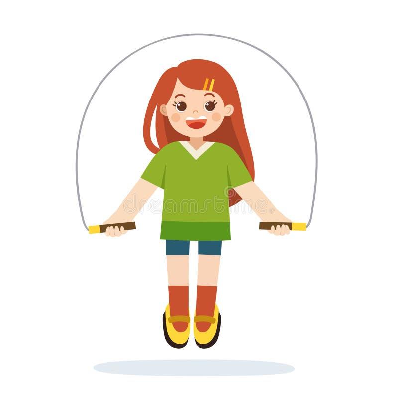 Młoda sportive dziewczyna robi ćwiczeniom z skokową arkaną royalty ilustracja