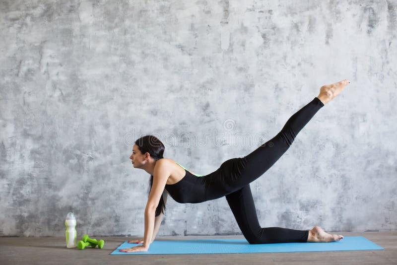 Młoda sportowa sporty szczupła kobieta robi joga ćwiczeniu w gym obrazy royalty free