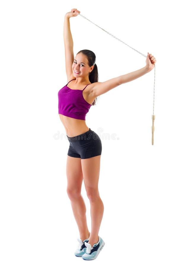 Młoda sporty dziewczyna z omijać arkanę obrazy stock