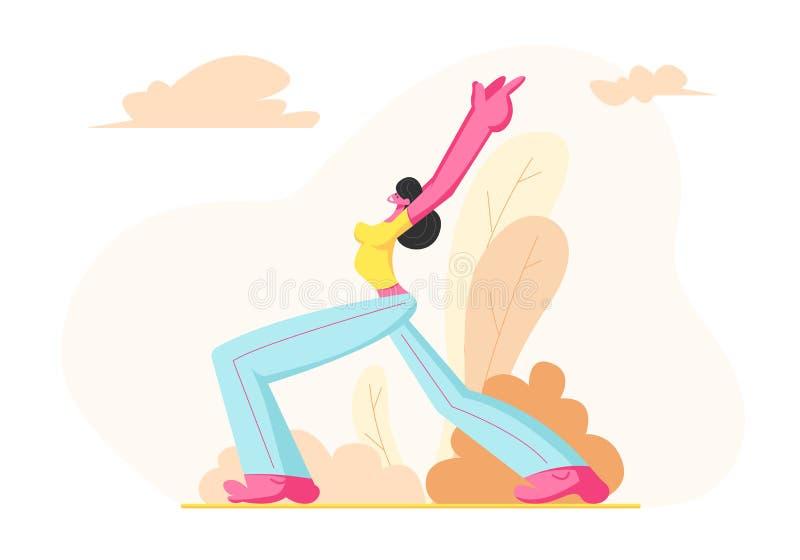 Młoda Sporty kobieta Jest ubranym sport odzież Trenuje Outdoors Wzrasta W górę z Szczupłą postacią, Żeński charakter Robi Lunge z ilustracja wektor
