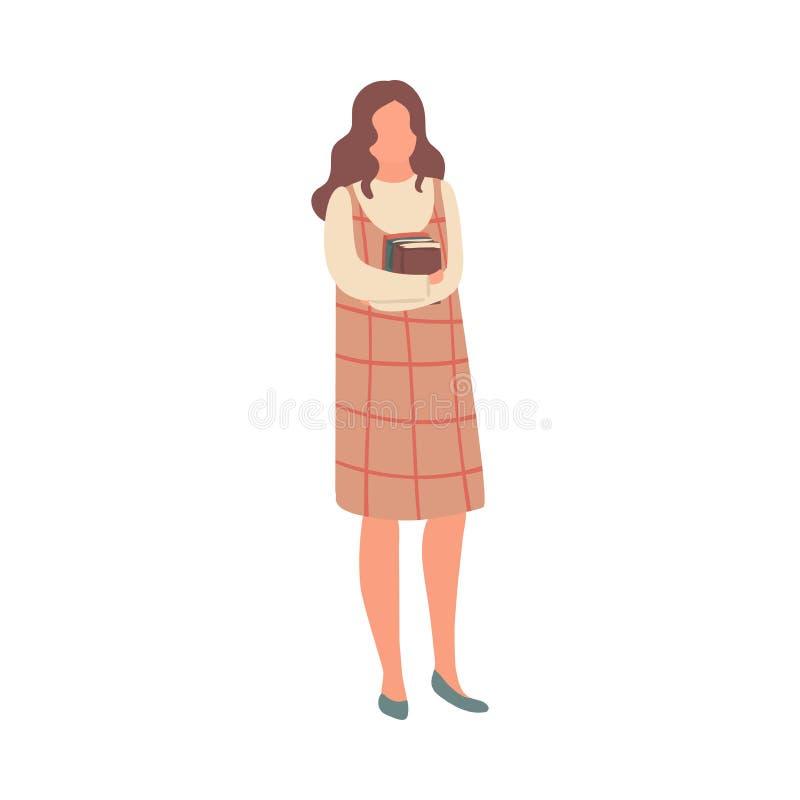 Młoda studencka dziewczyna w pasiastej sukni gotowej dla definitywnego egzaminu ilustracji