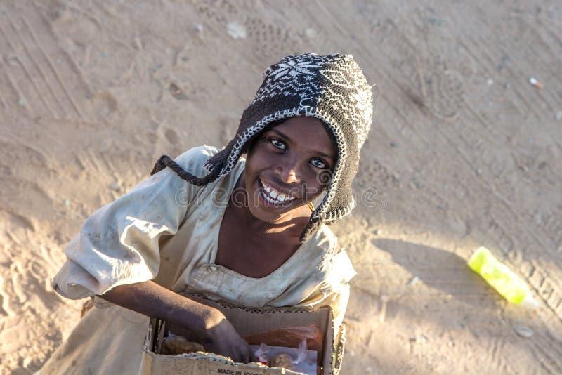 Młoda Sudańska chłopiec na rynku zdjęcie royalty free
