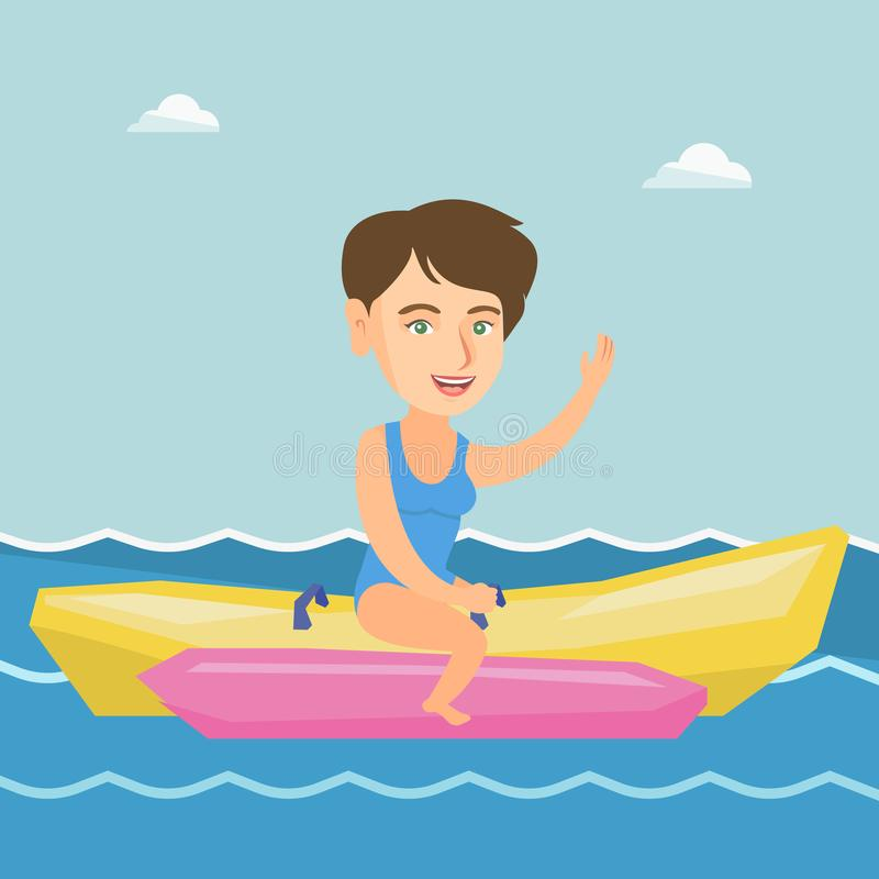 Młoda szczęśliwa caucasian kobieta jedzie bananową łódź ilustracji