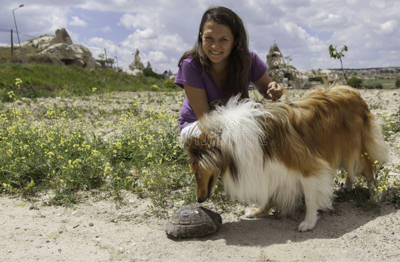 Młoda szczęśliwa dziewczyna trzyma psa które zakładają żółwia w przyrodzie fotografia stock
