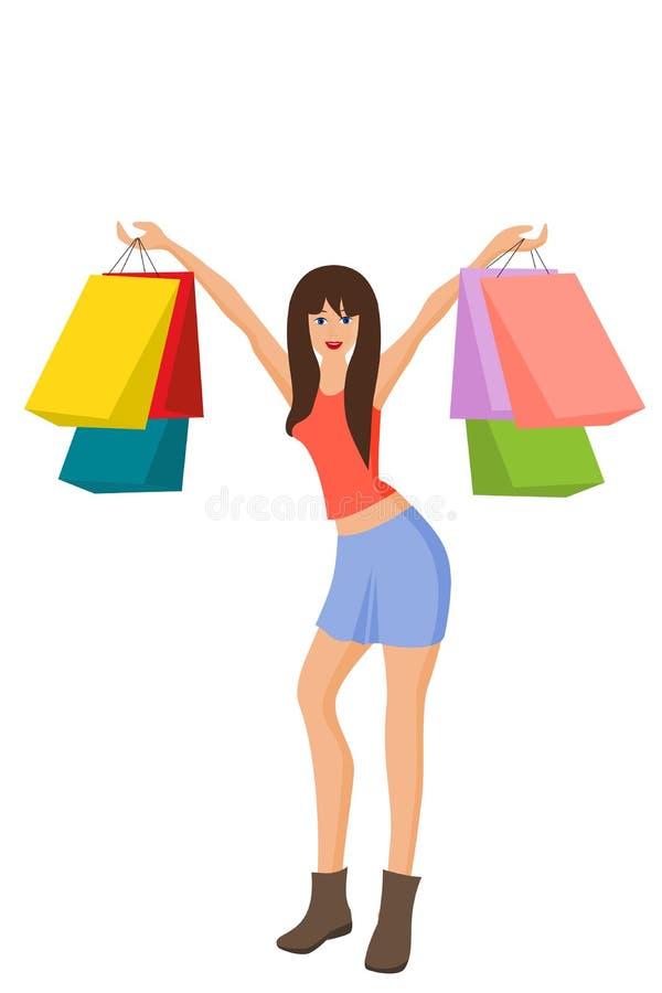 Młoda szczęśliwa kobieta z torba na zakupy, na bielu ilustracji