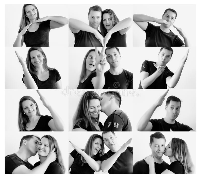 Młoda szczęśliwa para robi kierowemu kształtowi z rękami fotografia royalty free