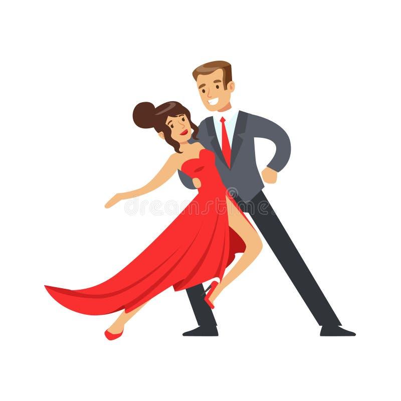 Młoda szczęśliwa para tanczy kolorową charakteru wektoru ilustrację ilustracja wektor