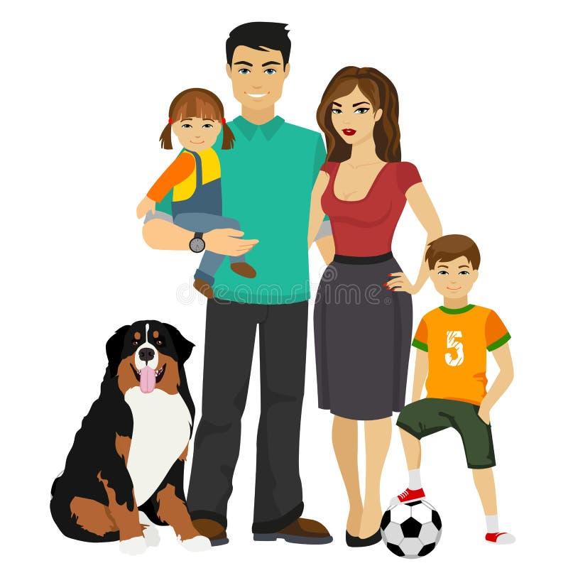 Młoda szczęśliwa Rodzinna wektorowa ilustracja royalty ilustracja