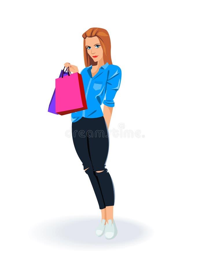 młoda szczęśliwa uśmiechnięta kobieta z torba na zakupy ilustracja wektor