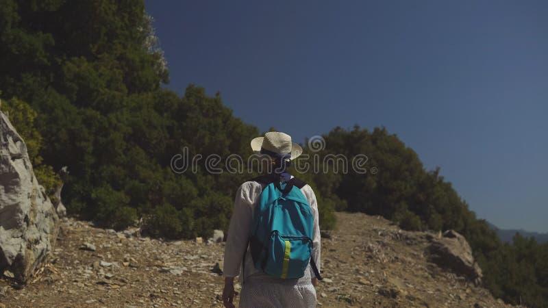Młoda turystyczna dziewczyna w kapeluszu z plecakiem i zdjęcia royalty free