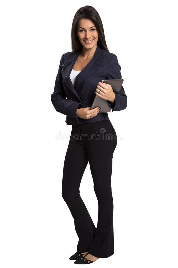 Młoda uśmiechnięta biznesowa kobieta z pastylka komputerem obraz royalty free
