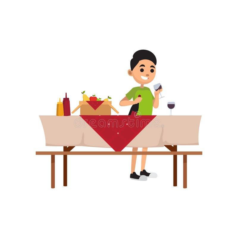 Młoda uśmiechnięta chłopiec wydaje czas outdoors Nastolatka statywowy pobliski pykniczny stół z jedzenia i pełni szkłem z napojem ilustracja wektor