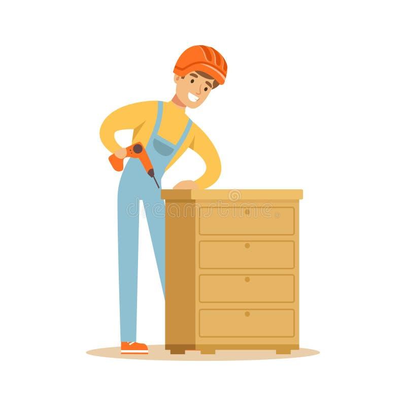 Młoda uśmiechnięta cieśli mężczyzna budynku klatka piersiowa kreślarzi, woodworker charakteru wektoru ilustracja royalty ilustracja