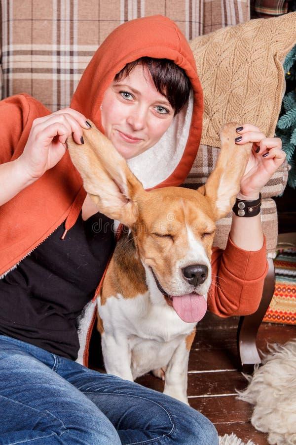 Młoda uśmiechnięta dziewczyna z śmiesznym i niemądrym beagle psem który pokazuje jęzor z zamkniętymi zadowolonymi oczami obrazy stock
