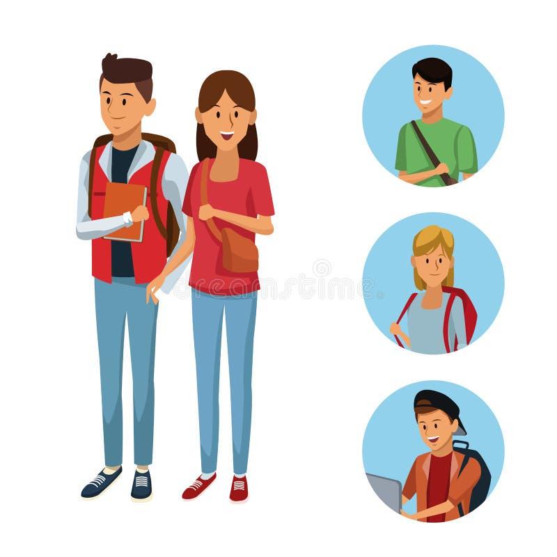 Młoda uczeń kreskówka ilustracji