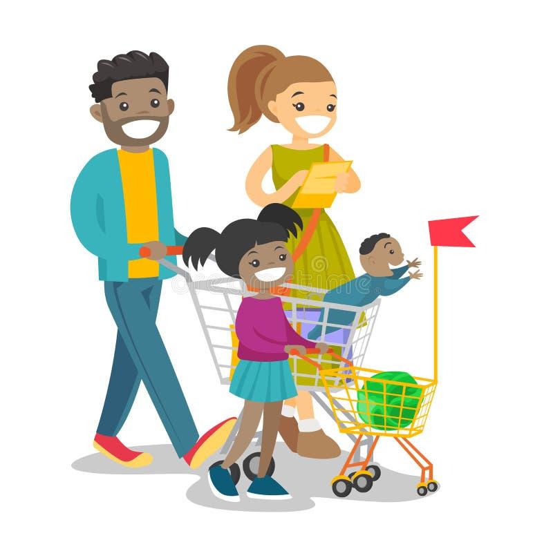 Młoda wielokulturowa rodzina z dzieciaków robić zakupy ilustracji