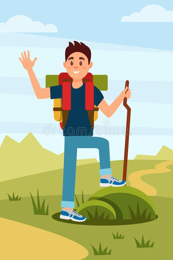 Młoda wycieczkowicza falowania ręka turysta z plecakiem i drewnianym kijem Natura krajobraz na tle działalność plenerowa mieszkan royalty ilustracja