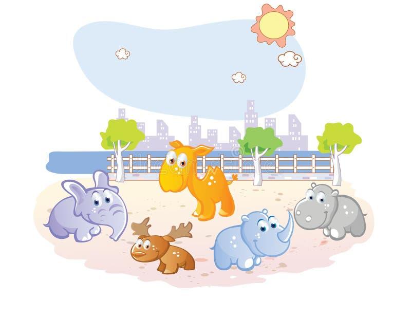 Młoda zwierzę kreskówka przy parkiem ilustracja wektor