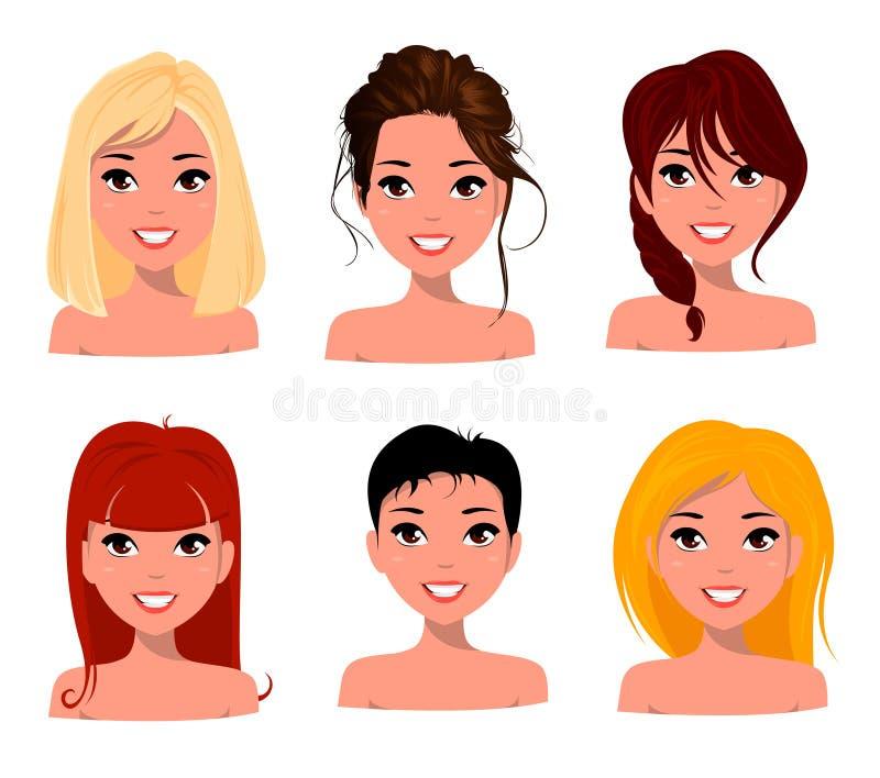 Młode ładne kobiety, ładne twarze z różnymi fryzurami Kreskówki piękna dziewczyna, mieszkanie styl royalty ilustracja