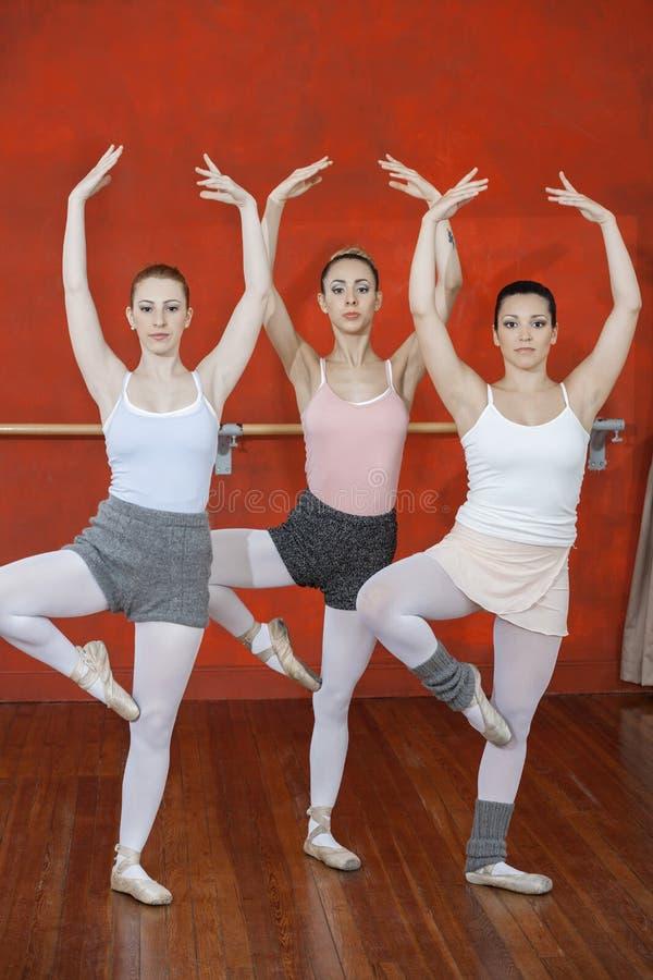 Młode baleriny Z ręka Podnoszę Ćwiczyć W studiu obraz stock