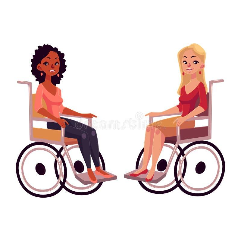 Młode czarne i caucasian kobiety w wózkach inwalidzkich, równej możliwości pojęcie ilustracji