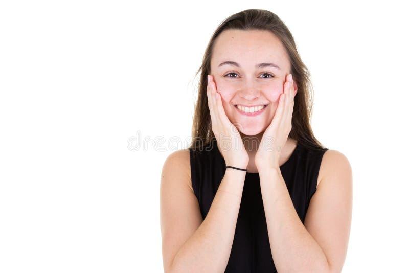 Młode dorosłe piękne portret kobiety ręki na twarzy z bocznym copyspace zdjęcie royalty free