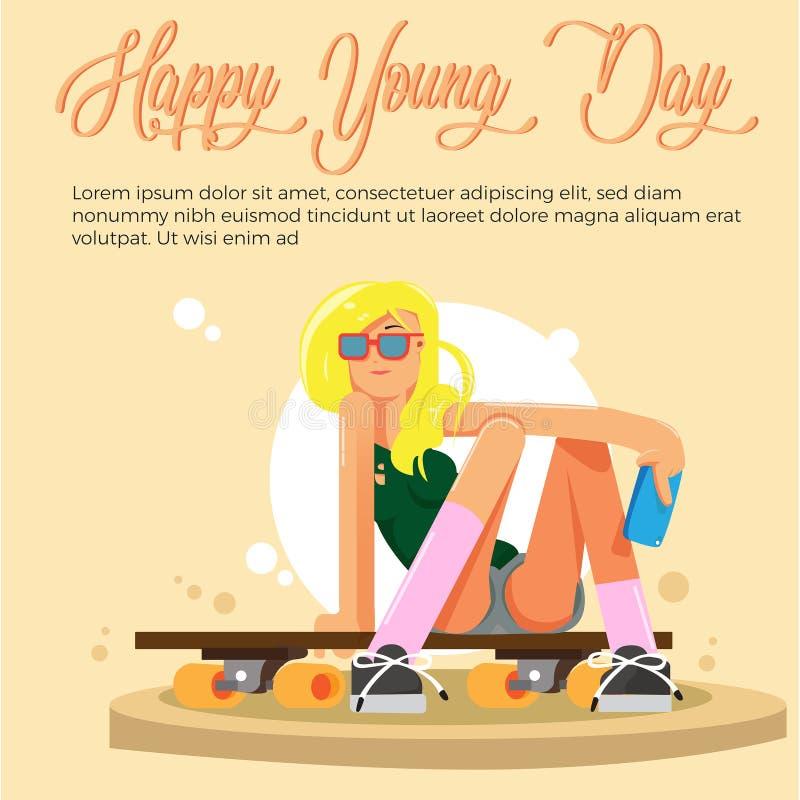 Młode dzień kobiety w deskorolka Wektorowym projekcie royalty ilustracja