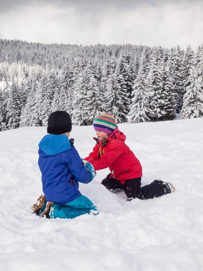 Młode dzieci bawić się w śniegu zdjęcie royalty free